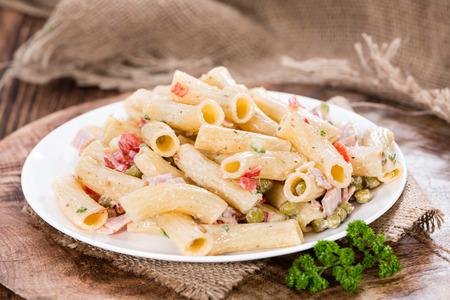 pasta salad: Portion of homemade Pasta Salad (close-up shot)