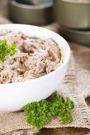 tuna salad: Homemade Tuna Salad in a small bowl (on wooden background)