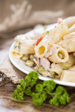 pasta salad: Portion of Pasta Salad (with mayonnaise) on wooden background