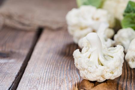kohl: Fresh Cauliflower (close-up shot) on wooden background Stock Photo