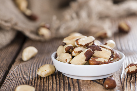 Portion of healthy Brazil Nuts as detailed close-up shot) Standard-Bild