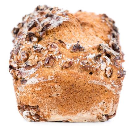Fresh baked Walnut Bread isolated on pure white background photo