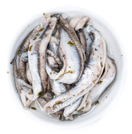 seafish: Portion of pickled Anchovis (isolated on white)