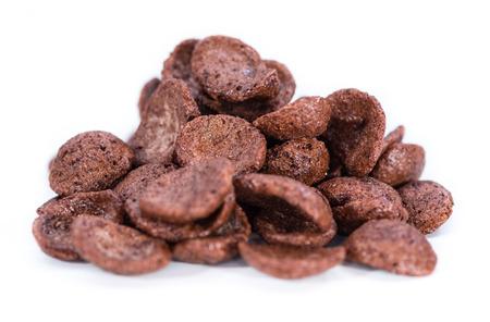 Some chocolate cornklakes isolated on pure white background photo