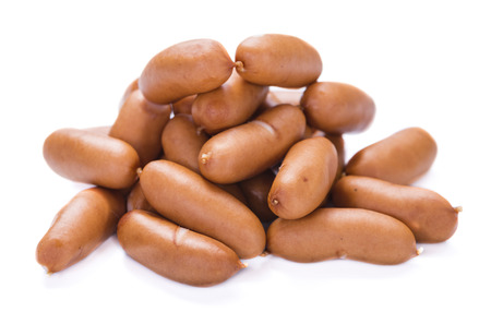 Some Mini Sausages isolated on pure white background 스톡 콘텐츠