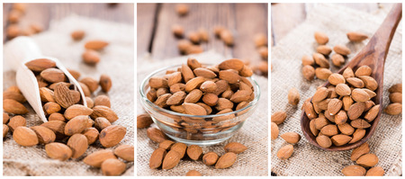 Portion of Whole Almonds (as a collage)