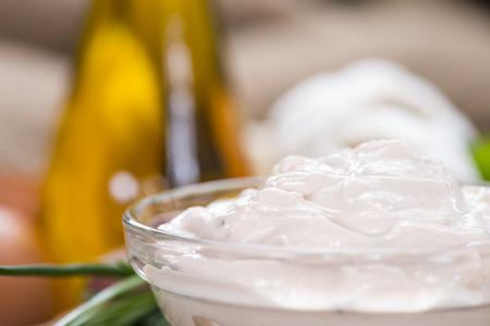 a portion: Portion of fresh homemade Aioli dip Stock Photo
