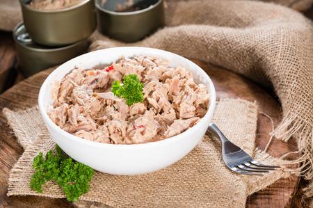 tuna salad: Portion of Tuna salad in a small bowl (close-up shot)