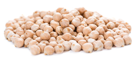 Portion of Chick Peas isolated on white background
