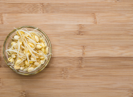 soy sprouts: Portion of preserved Soy Sprouts on wooden background