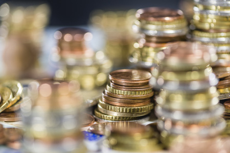 schein: Euro Coins and Bills detailed close-up shot Stock Photo