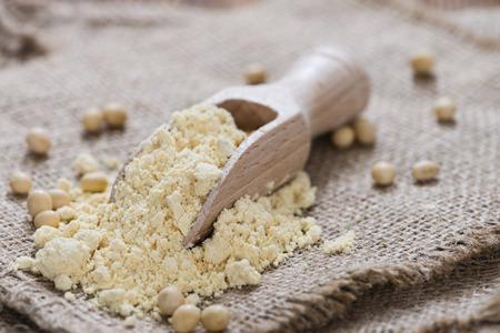 portion: Portion of Soy Flour (detailed close-up shot)