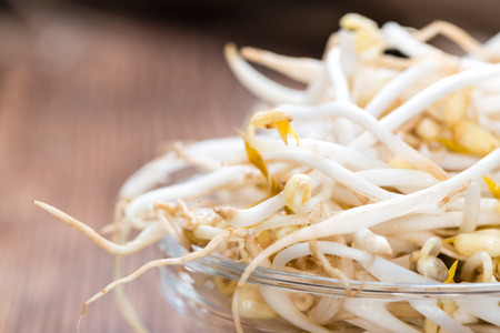 beansprouts: Bowl with Mungbean Sprouts on wooden background