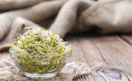broccoli sprouts: Portion of fresh Broccoli Sprouts (detailed close-up shot)