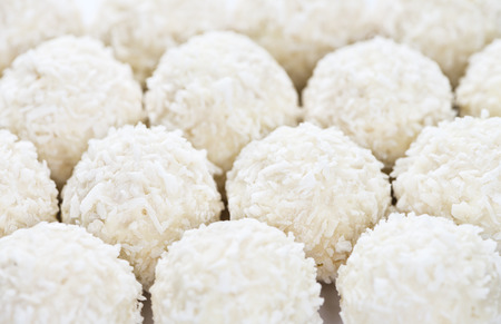 pralines: Assorted Coconut Pralines (detailed macro shot) Stock Photo