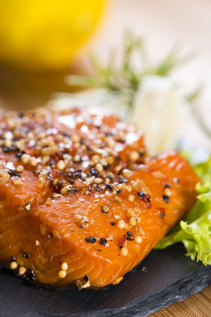 smoked salmon: Smoked Salmon marinated with spices and fresh herbs