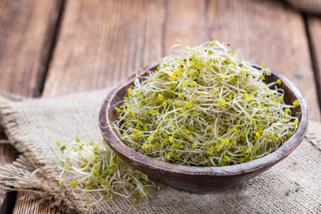 sprout: Fresh Broccoli Sprouts (detailed close-up shot) on vintage wooden background Stock Photo