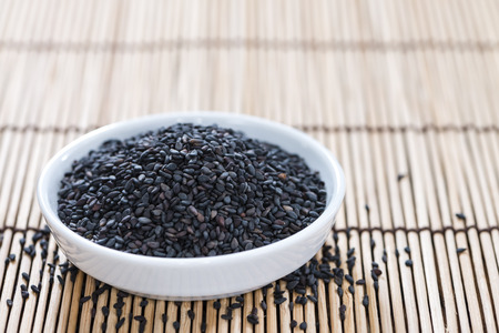 black sesame: Portion of black Sesame (detailed close-up shot) Stock Photo