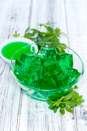 woodruff: Homemade Woodruff Jelly (on a bright wooden background)