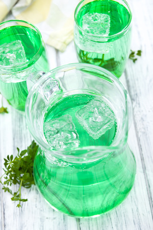 treacle: Cold beverage with Woodruff flavor in a glass