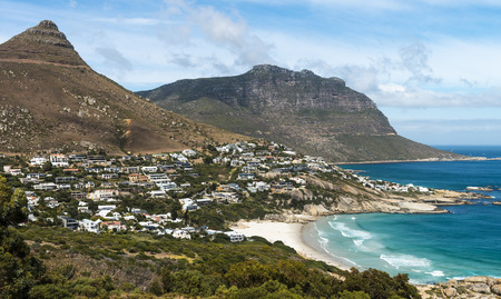 cape town: Beautiful shot of Camps Bay (Cape Town) in South Africa Stock Photo