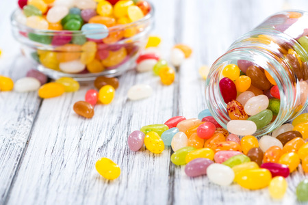 colorfull: Colorfull Jelly Beans (close-up shot) on bright wooden background