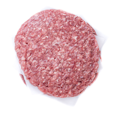 minced beef: Burger (raw minced Beef) isolated on white background Stock Photo
