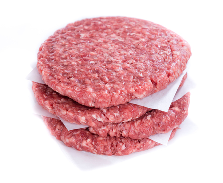 mincemeat: Burger (raw minced Beef) isolated on white background Stock Photo