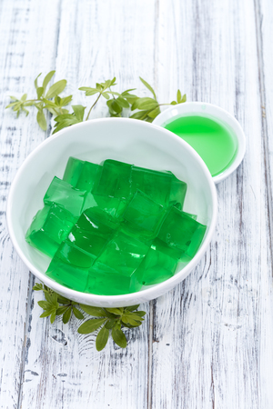 sweet woodruff: Portion of homemade Woodruff Jello (on a bright background)