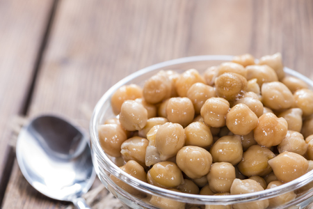 vegetable tin: Portion of preserved Chick Peas (close-up shot)