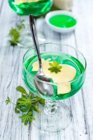 woodruff: Homemade Jelly (Woodruff taste) with Vanilla Sauce Stock Photo