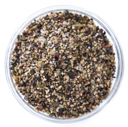 peppercorns: Crushed Peppercorns with different spices and salt isolated on white background Stock Photo