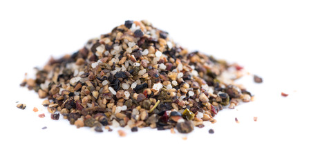 Crushed Peppercorns with different spices and salt isolated on white background Stock Photo