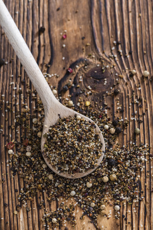 black pepper: Portion of milled Peppercorns as detailed close-up shot Stock Photo