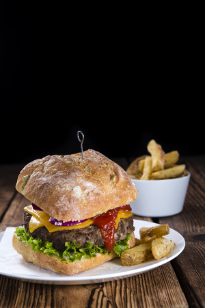 melted cheese: Homemade Ciabatta Burger with melted Cheese and homemade French Fries