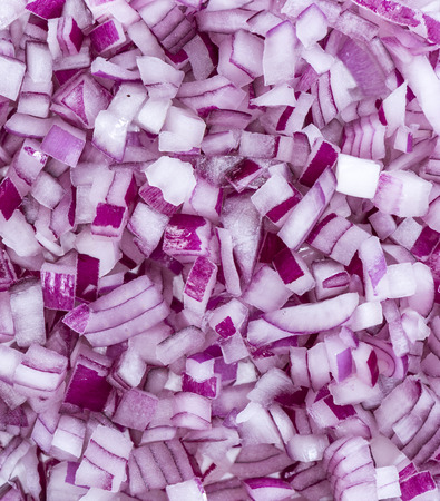 red onions: Diced Red Onions for use as background image or as texture Stock Photo