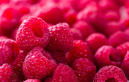 Raspberries as detailed close-up shot food background image