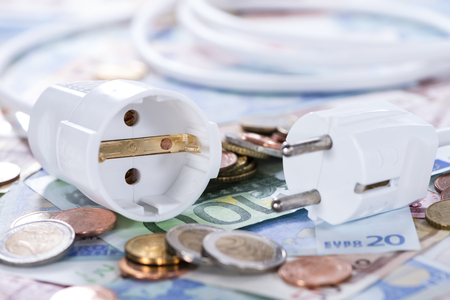 energy costs: Energy Costs concept with European money (close-up shot)