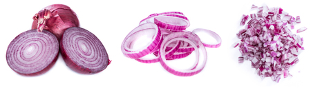onion rings: Red Onions (isolated on pure white background)