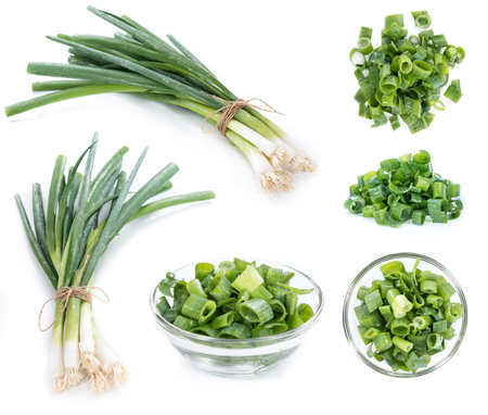 scallion: Scallions (different images) isolated on white background