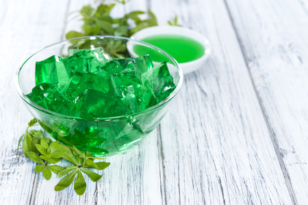 woodruff: Portion of homemade Woodruff Jello (on a bright background)