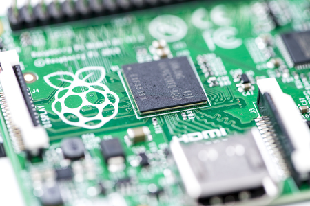Raspberry Pi (close-up shot as image for editorial use) 写真素材