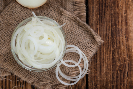 spring onion: Portion of white Onions (detailed close-up shot) on wooden background Stock Photo