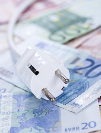 electricity prices: European money Energy Costs concept (detailed close-up shot) Stock Photo