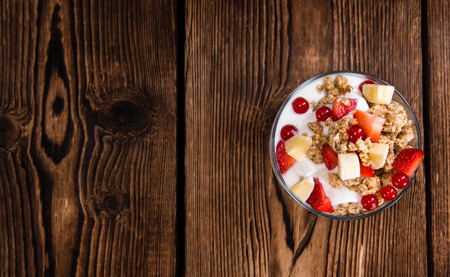 crunchy: Crunchy Yoghurt with some fresh fruits (detailed close-up shot) Stock Photo