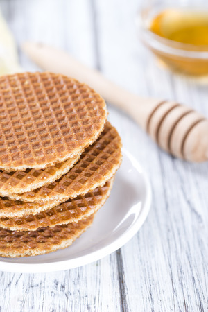 filled: Homemade crispy Waffles filled with honey(close-up shot) Stock Photo