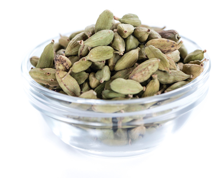cardamon: Cardamon Seeds in a bowl (isolated on white background)