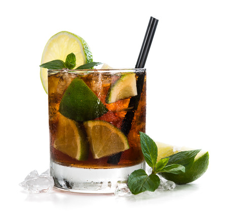 Cuba Libre Longdrink with brown rum and lime (isolated on white background)