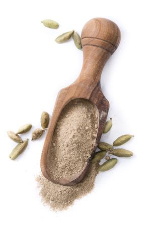 cardamon: Portion of Cardamon Powder (close-up shot) isolated on white background