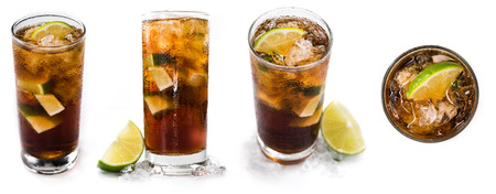 longdrink: Longdrinks (Cuba Libre) isolated on white background as high resolution collage